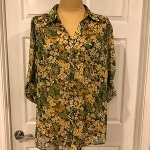 Avenue Button Front Blouse Top in Women's 26/28
